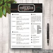 Pretty Resume Template 2 Unique Unisex Resume Template For Microsoft Word James Black Creative