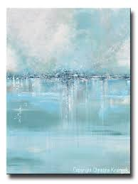 Blue And Green Decor Giclee Print Art Abstract Painting Coastal Wall Decor Sea Blue