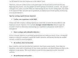 Resume Objective Tips Letter Resume Source