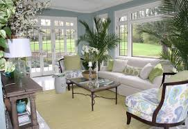 sunroom furniture arrangement. Soft Blue Sunroom S Wall Paint Colors With White Sofa And Plants Furniture Arrangement