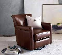 pottery barn leather swivel glider small chair brown