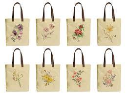 image is loading watercolor flower drawing beige printed canvas tote bags