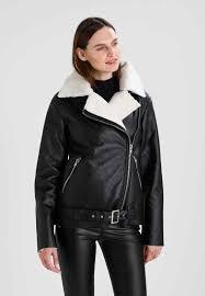 glamorous tall winter biker faux leather jacket black for women