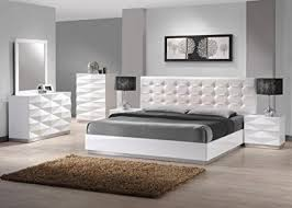 modern bedroom white. Wonderful Modern Ju0026M Furniture Verona Modern White Lacquer U0026 Leather Bedroom Set King Size Throughout W