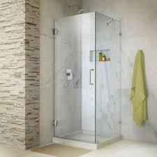 Unidoor Lux 30 in. x 72 in. Frameless Corner Hinged Shower ...