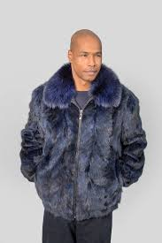 26111 men s dyed navy mink section zip front jacket with fox collar