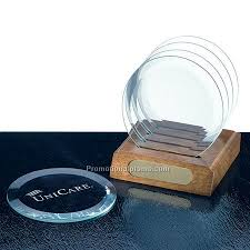 ROUND CLEAR GLASS COASTERS 4