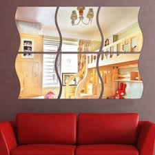 4 pcs 28x27 acrylic decorative wave shape mirror wall sticker solid decoration wall mirror attached home