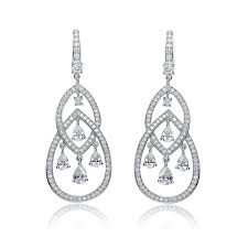 c z sterling silver rhodium plated double teardrop chandelier earrings