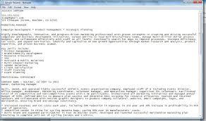 Plain Text Resume Sample Resume Talk