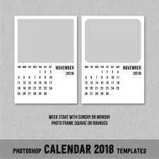 2018 Calendar Template Photoshop Printable Editable Blank