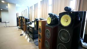 sound system for gym. moscow, russia - april 09, 2015: view of professional sound system presented at for gym n
