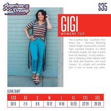 Lularoe Gigi Sizing Chart Lularoe American Dreams Lularoe