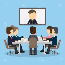 Video Conference Business Video Conference In The Room With People Man On The