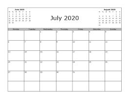 July 2020 Calendar In Pdf Word Excel Printable Template