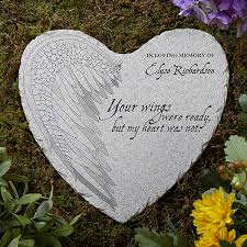 personalized memorial heart garden stone your wings 17271