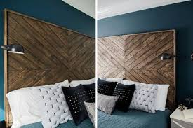 herringbone wood headboard diy