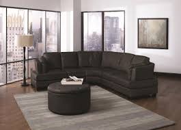 Furniture:Grey Sectional Sofa With Retro Wooden Stools Combine Rounded  Coffee Table Classic Black Leathered
