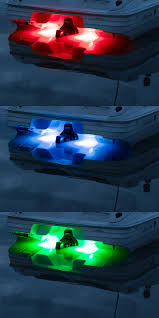rgb led underwater boat lights and dock lights double lens 120w shown on in red blue and green