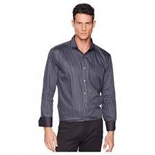 Bugatchi Men Charcoal Long Sleeve Shaped Fit Woven Shirt