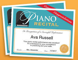 Piano Certificate Template Piano Recital Certificate Piano Award Printables Child Etsy