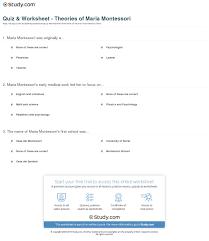 quiz worksheet theories of maria montessori com print maria montessori theory contributions to education worksheet