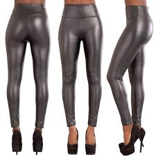 details about women high waist leather look leggings trousers las stretch skinny pants