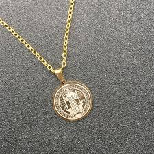 whole saint benedict medal virgin mary pendant necklace gold steel color stainless steel catholic cross necklaces for catholic jewelry erfly