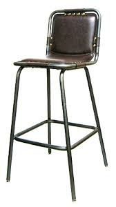 Industrial Metal Padded Seat Bar Stool in Pewter Glossy