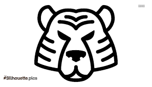 tiger face drawing silhouette free vector art