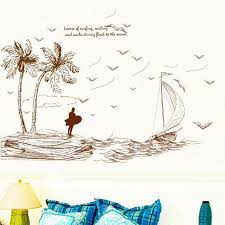 Small Picture 2017 Palm Island Scenery Sea Wave Ship Wall Sticker Art Decal PVC