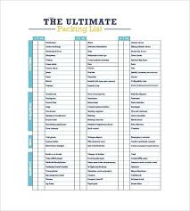 Blank Packing Checklist Template Printable Trip Pack List Blank