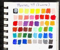 Pentel Oil Pastels Color Chart Showing The Full Range Of 49