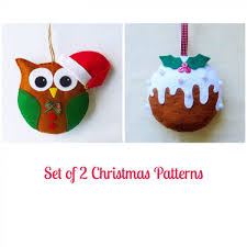 Felt Christmas Ornament Patterns Magnificent Set Of 48 Felt Christmas Ornament Patterns Santa Owl And Christmas
