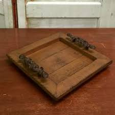 Wooden Trays To Decorate Wood Serving Tray Home Decor Accessory with weathered walnut stain 100
