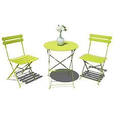 Folding dining table and chair Small Space Amazoncom Oc Orangecasual 3piece Patio Bistro Set Steel Folding Dining Table And Chairs Garden Backyard Outdoor Furniture Slatted Design Light Green Nepinetworkorg Amazoncom Oc Orangecasual 3piece Patio Bistro Set Steel Folding