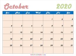 Cute October 2020 Calendar 2020 Calendar