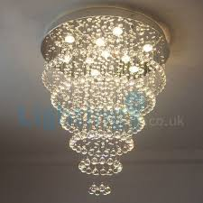 modern contemporary chandelier flush mount led pendant fixture crystal rain drop light for high ceiling living