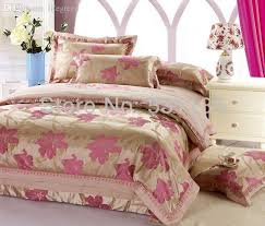 whole pink flowers gold bedding sets luxury bed duvet quilt cover for king queen size silk satin jacquard cotton bedcover sheets cover oil bed cotton
