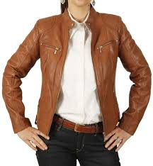 las tan leather biker jacket with quilting detail sl118011