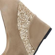 Casual Platform Vintage <b>Flock</b> Glitter Patchwork <b>High Heels Women</b> ...