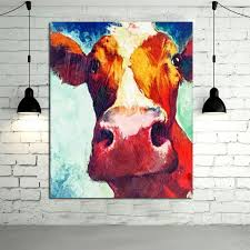 large oil paintings handmade wall painting color cow picture on canvas abstract home decor animals oil