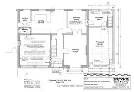 Garage conversion and house extension design - Proposed ground floor plan .