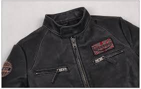 2016 new men vintage leather motorcycle jacket genuine cowskin black stand collar slim fit men winter