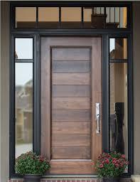 door. Example Of Custom Wood Door With Glass Surround