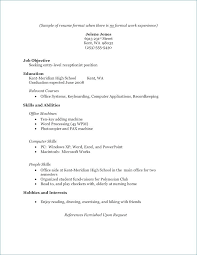 Resume Examples With No Experience Curriculum Vitae Waitress Resume