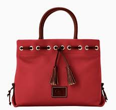 dooney bourke wakefield tassel tote pebble leather cranberry red nwt 198
