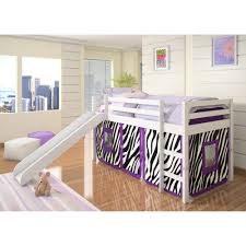 kids loft bed with slide. Simple Loft Amazoncom Donco Kids Twin Loft Tent Bed With Slide  White Red Tent  Kitchen U0026 Dining On With Amazoncom