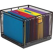 hanging file box. Simple Hanging Staples Collapsible Black Wire Mesh File Box Inside Hanging N