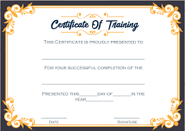 Certificate Of Training Completion Template 4 Printable Sample Certificate Of Training Template